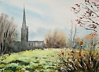 Burford Cotswolds countryside English village town watercolour original painting