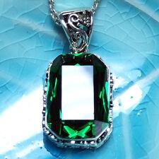"Vintage Emerald Green Pendant Necklace 14k White Gold 18"" Chain Women WRE43"