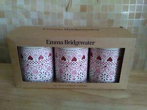 Emma Bridgewater Set of 3  Storage Tin Caddies Pink Hearts Sampler Design New