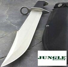 """15"""" JUNGLE MASTER REVERSE SERRATED FULL TANG BOWIE W/ RUBBERIZED GRIP + SHEATH"""