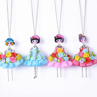Women Girls Rose Flower Doll Pendant Necklace Chain Alloy Fashion Jewelry Gift