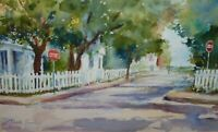 Framed Original Watercolor Painting -Small Town Streetscape House w/ White Fence