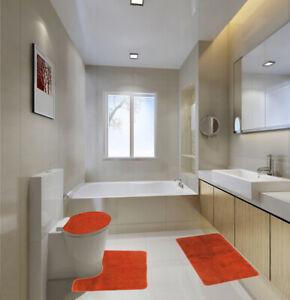 High Quality Bathroom Bath Rug Mat Set & Toilet Lid Cover #6 ORANGE
