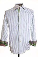 Robert Graham Mens sz M Blue White Stripe Contrast Cuff LS Button Up Shirt USA