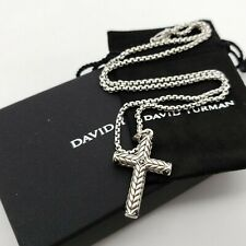 David Yurman Sterling Silver Black Diamond Sculpted Chevron Cross Pendant Chain