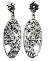 MOLINA TAXCO MEXICAN STERLING SILVER PEACOCK FLORAL FLOWER EARRINGS MEXICO