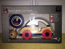 NEW ENGLAND PATRIOTS NFL BABY'S FIRST TOY PACK WOODEN RATTLE AND CAR GIFT SET