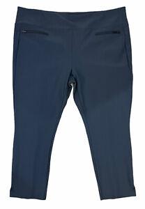 Athleta Stellar Crop Pant Trouser Work Travel Front Pockets #210237 Gray 2x