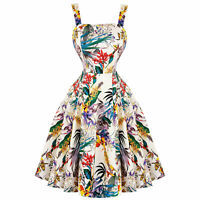 Hearts & Roses London Tropical Floral 1950s Vintage Retro Flared Summer Dress