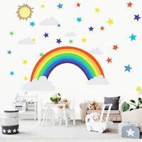 Rainbow Sun and Star Vinyl Wall Decal Nursery Baby Room Decor Art Sticker Gift