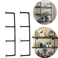 "4 Tier Wall Shelf Industrial Iron Pipe Shelving Mounted Bookshelf Brackets 39"" H"