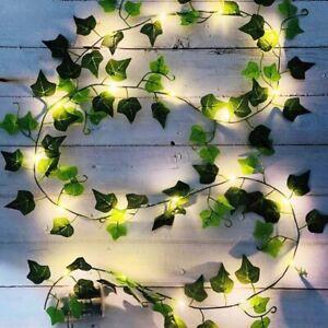 2×Efeu-Lichterkette,Girlande, Kranz,künstliche grüne Blätter, Blumen 2m,20 LEDs