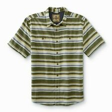 Men's Button-Front Shirt Striped Size Large Rifle Green Outdoor Life Cotton