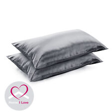 100% Silk 22 Momme Charcoal Pillowcases Set Of 2 AntiAgeing Pamper Skin&Hair