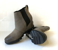 NEW! SOREL Joan Of Arctic Wedge II Chelsea Women's 8.5 Quarry Leather Waterproof