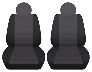 Fits 2013-2018 Fiat 500 Pop /Lounge  front set car seat covers black -charcoal