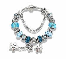 Beautiful Antique Silver Plated European Style Daisy Glass Bead Bracelet