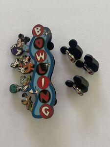 DLR Fab 4 Mickey Donald Goofy Pluto Bowling Disney Pin 7139