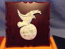 Rare SHAANXI MSUN MARBLE? ONYX? EAGLE FALCON HAWK DESK PLAQUE CHINESE SHANXI