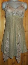 NWT PRETTY ANGEL cami intimate sexy TANK TOP TUNIC SHIRT dress LACE brown MED