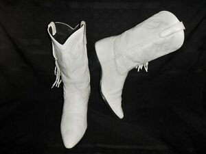 Laredo Snow White Western Cowgirl Boots Tasseled Leather Size: Woms 8M -Awesome!