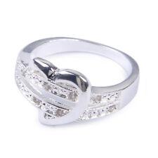 Frauen 925 Silber Herz Zirkon Kristall Verlobungsring Ehering Geschenk Größe 7-9