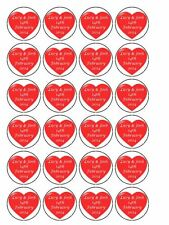 "30 x Personalised Red Hearts 1.5"" PRE-CUT PREMIUM RICE PAPER Cupcake Toppers"
