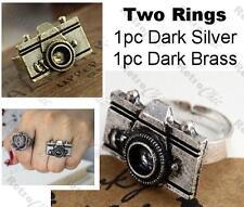 2pcs METAL CAMERA RINGS kitsch ring VINTAGE BRASS/ANTIQUE SILVER TONE adjustable