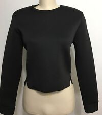 Spring Transitional Cropped French Terry Sweatshirt Black Longsleeve  Size Large