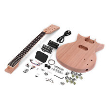 Unfinished DIY Electric Guitar Kit Mahogany Body Rosewood Fingerboard Gift W6C4