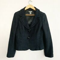 Ann Taylor Womens Black Wool Blend Blazer Size 10