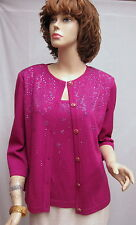 St JohnKnit NWT Freesia Fuscia Jacket Shell Set Suit SZ S 4 6 RT $1700