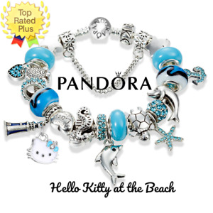AUTHENTIC Pandora Bracelet Silver HELLO KITTY BEACH Blue with European Charms