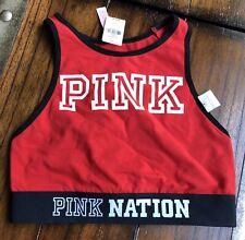 RED BLACK PINK NATION VICTORIA'S SECRET SPORTS BRA CROP TOP BRAND NEW NWT XS 💓