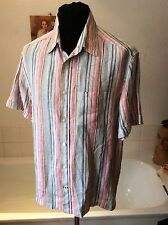 M&S Blue Harbour pure linen pink/blue stripe s/sleeve summer shirt M 38-40""