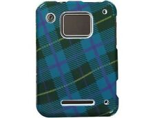 Durable Plastic Design Phone Case Blue Plaid Weave For Motorola CHARM