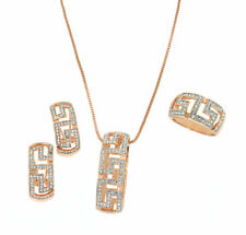 Rose Gold Plated with Crystals Greek Key Necklace Earrings & Rings Jewelry Set