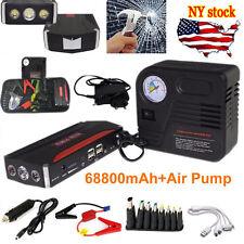 68800mAh Car Jump Starter Petrol/Diesel Power Bank Air Compressor 4USB 600A 12VV