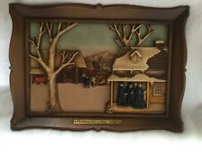 "Vintage 1969  Syroco 3-D Wall Hanging Plaque ""Thanksgiving Visit� 14"" x 10"""