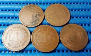 1903, 1904, 1906, 1907 & 1908 Straits Settlements King Edward VII 1 Cent Coin