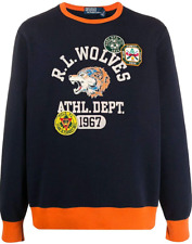 Polo Ralph Lauren Men's Wolves Fleece Logo Patch Graphic Sweatshirt Navy-Blue L