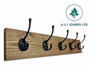 Handmade Wooden Pine Coat Rack Hook Hat Key Holder Rustic Home Storage Organiser