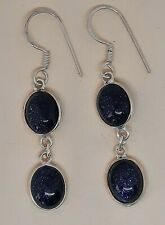 Sterling Silver and Blue Goldstone Earrings