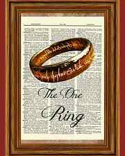 Lord of the Rings Dictionary Art Print Book Page One Ring LOTR Tolkien Picture