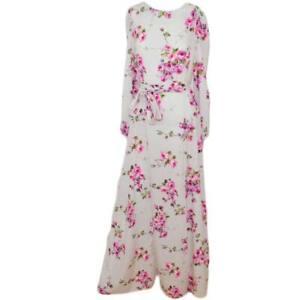 Abito donna lungo floreale colorato spacco alto e manica a taglio impero moda