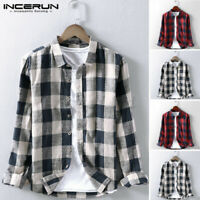 Vintage Mens Long Sleeve Check T shirt Buttom Down Casual Party Dress Shirts NEW