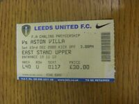 23/12/2000 Ticket: Leeds United v Aston Villa (folded, staple hole). Item appear