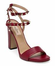 f4af613158c4 Valentino Rockstud Red Double Ankle Strap Platform Sandal Block Heel Pump 40
