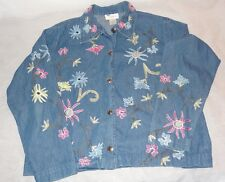 Studio Works Denim Jacket Embroidered Flowers Size Small Jean Blue Pink Yellow