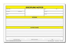 DISCIPLINE NOTICE FORM - Cool School Studios - 3-PART CARBONLESS/100 FORMS